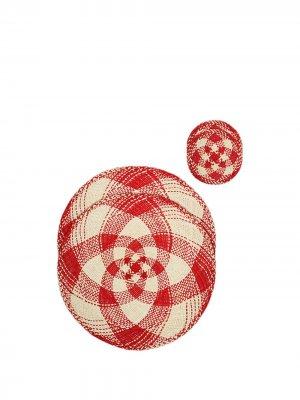 Набор из четырех плетеных сервировочных салфеток La Doublej. Цвет: красный