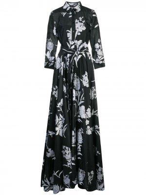 Платье с поясом и цветочным принтом Carolina Herrera. Цвет: черный
