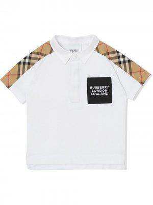Рубашка поло со вставкой в клетку Vintage Check Burberry Kids. Цвет: белый