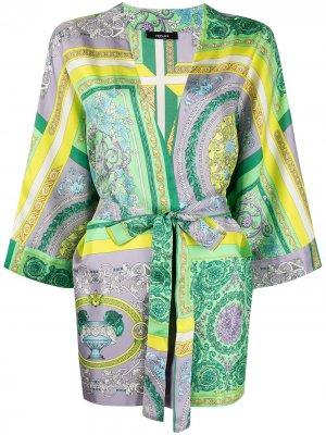Халат с принтом Baroque Versace. Цвет: зеленый