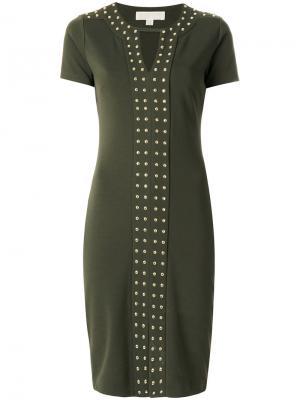 Платье с короткими рукавами заклепками Michael Kors. Цвет: зеленый