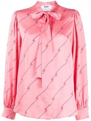 Атласная блузка в диагональную полоску MSGM. Цвет: розовый