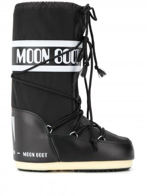 Дутые сапоги с кулиской и логотипом Moon Boot. Цвет: черный