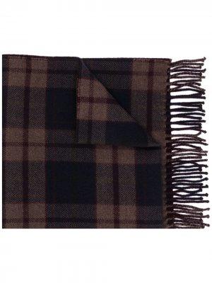 Клетчатый шарф Ermenegildo Zegna. Цвет: коричневый