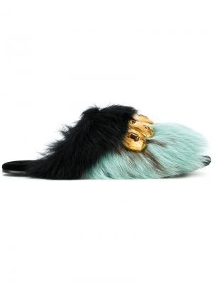 Сандалии с отделкой из меха норки Prada. Цвет: синий