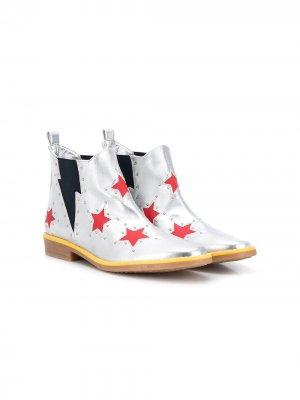 Ботинки с принтом Stella McCartney Kids. Цвет: серебристый