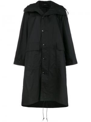 Hooded mid-length coat Y's. Цвет: черный