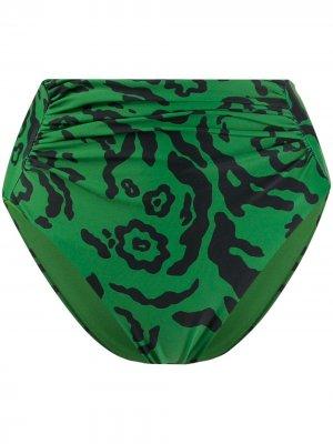 Купальник с леопардовым принтом Self-Portrait. Цвет: зеленый