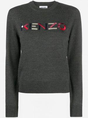 Пуловер с вышитым логотипом Kenzo. Цвет: серый