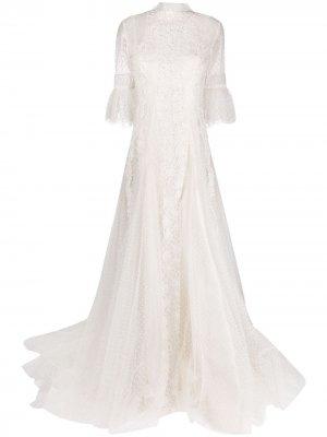 Декорированное вечернее платье Evelyn из тюля Parlor. Цвет: белый