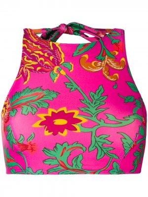 Пляжный топ с вырезом-петлей халтер La Doublej. Цвет: розовый