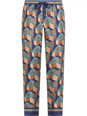Пижамные брюки с 3D логотипом Dolce & Gabbana. Цвет: синий