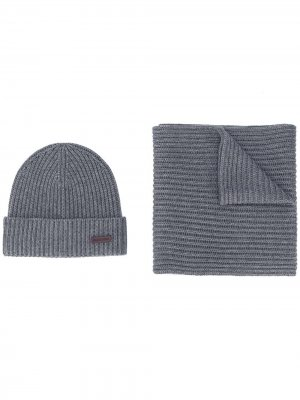 Комплект из шапки бини и шарфа Dsquared2. Цвет: серый