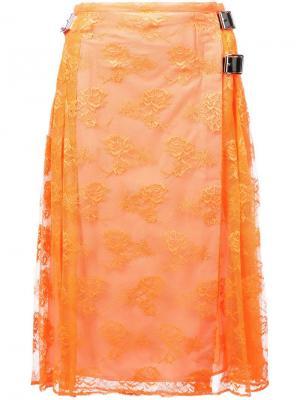 Плиссированная юбка с запахом Christopher Kane. Цвет: желтый