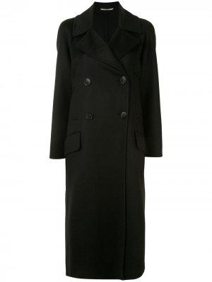 Двубортное пальто строгого кроя Colombo. Цвет: черный