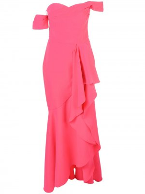 Плиссированное платье Marchesa Notte. Цвет: розовый