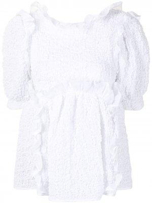 Блузка с оборками и бантом Cecilie Bahnsen. Цвет: белый
