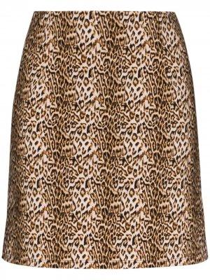 Юбка мини Ohio с леопардовым принтом Marcia. Цвет: коричневый