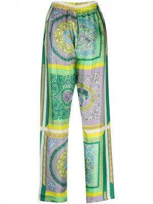 Пижамные брюки с принтом Baroque Versace. Цвет: зеленый