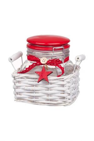 Баночка в плетенной корзинке DUE ESSE CHRISTMAS. Цвет: красный