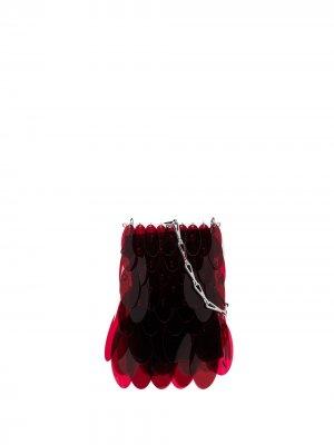 Мини-сумка Iconic 1969 Sparkle Paco Rabanne. Цвет: красный