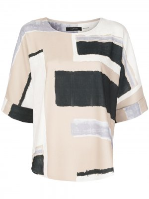 Блузка свободного кроя с геометричным принтом Natori. Цвет: нейтральные цвета