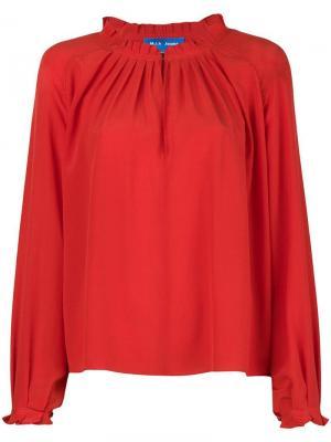 Блузка Sidi с оборочной отделкой Mih Jeans. Цвет: красный