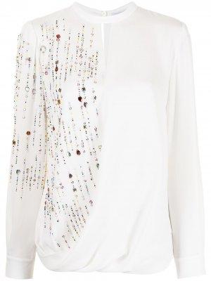 Драпированная блузка с кристаллами Dice Kayek. Цвет: белый