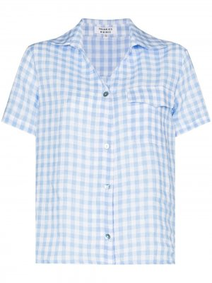 Пижамная рубашка Lou в клетку гингем Frankies Bikinis. Цвет: синий