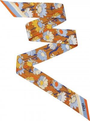 Платок с цветочным принтом Fendi. Цвет: коричневый