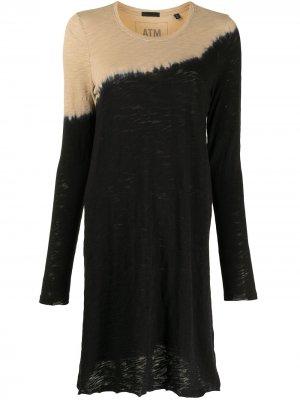 Платье миди с эффектом деграде Atm Anthony Thomas Melillo. Цвет: черный