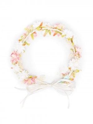 Ободок с завязками и цветочным декором Abel & Lula. Цвет: нейтральные цвета
