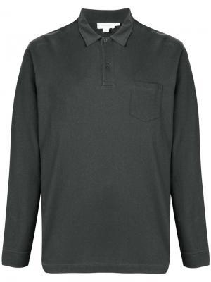 Рубашка-поло с длинными рукавами Sunspel. Цвет: серый