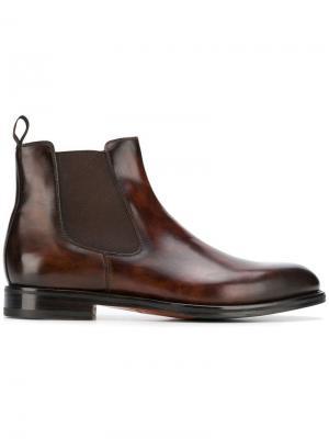 Классические ботинки челси Santoni. Цвет: коричневый