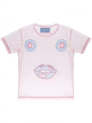 Прозрачная футболка с вышивкой Viktor & Rolf. Цвет: розовый