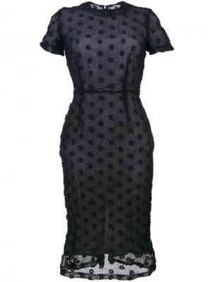 Вязаное крючком платье с короткими рукавами Comme Des Garçons Vintage. Цвет: синий
