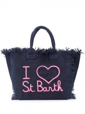 Пляжная сумка с надписью и бахромой Mc2 Saint Barth. Цвет: синий