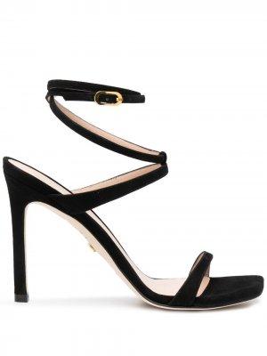 Босоножки Ellsie на каблуке Stuart Weitzman. Цвет: черный
