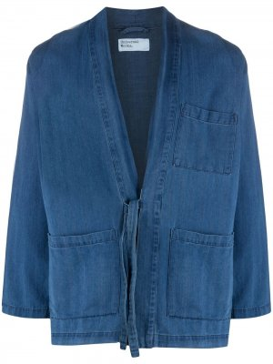 Джинсовая куртка-рубашка с завязками Universal Works. Цвет: синий