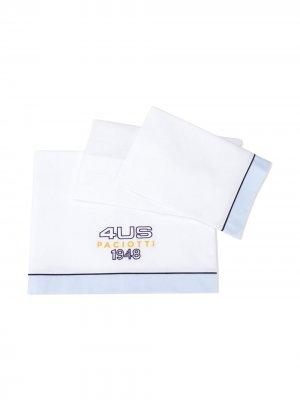 Одеяло с вышитым логотипом Cesare Paciotti 4Us Kids. Цвет: белый