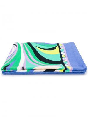 Пляжное полотенце с абстрактным рисунком Emilio Pucci. Цвет: синий