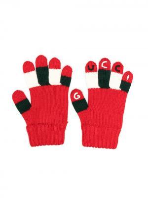Перчатки вязки интарсия Gucci Kids. Цвет: красный