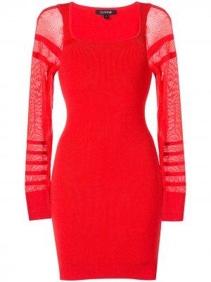 Платье мини с полупрозрачными рукавами Cushnie. Цвет: красный
