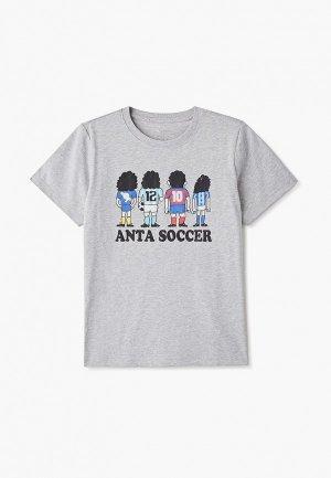 Футболка Anta. Цвет: серый