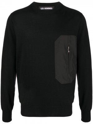 Джемпер с карманом на молнии Les Hommes. Цвет: черный
