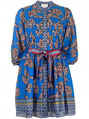 Платье с завязками и принтом Alexis. Цвет: синий