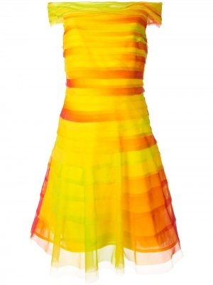 Многослойное платье с открытыми плечами Ralph Lauren Collection. Цвет: желтый