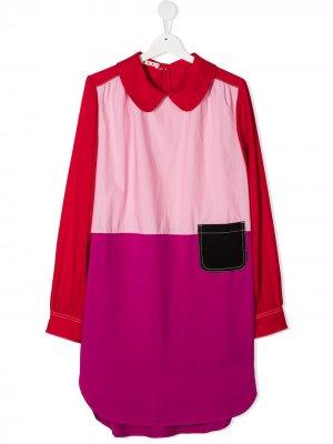 Платье-рубашка в стиле колор-блок Marni Kids. Цвет: розовый