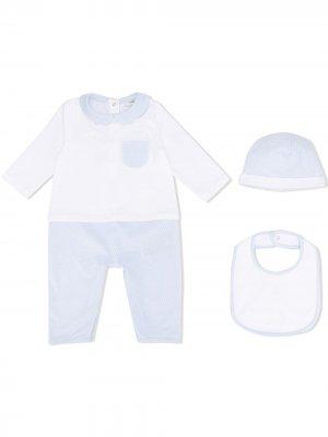 Комплект из ромпера, шапки и нагрудника с логотипом FF Fendi Kids. Цвет: белый