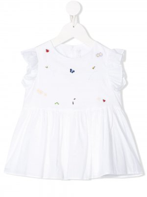 Блузка с оборками и вышивкой Il Gufo. Цвет: белый